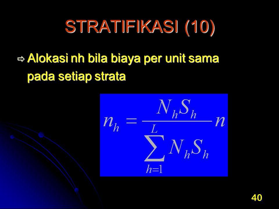 40 STRATIFIKASI (10)  Alokasi nh bila biaya per unit sama pada setiap strata pada setiap strata