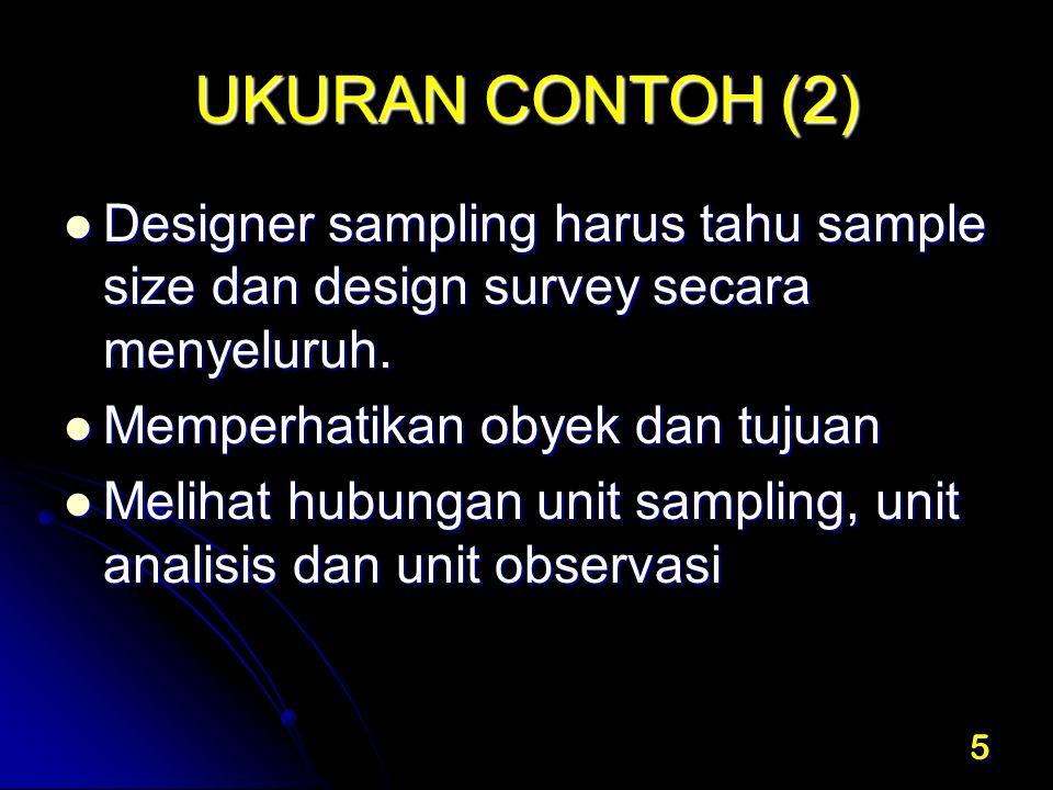 5 UKURAN CONTOH (2) Designer sampling harus tahu sample size dan design survey secara menyeluruh. Designer sampling harus tahu sample size dan design