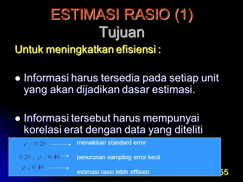 55 ESTIMASI RASIO (1) Tujuan Untuk meningkatkan efisiensi : Informasi harus tersedia pada setiap unit yang akan dijadikan dasar estimasi. Informasi ha
