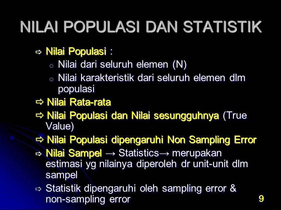 9 NILAI POPULASI DAN STATISTIK  Nilai Populasi : o Nilai dari seluruh elemen (N) o Nilai karakteristik dari seluruh elemen dlm populasi  Nilai Rata-