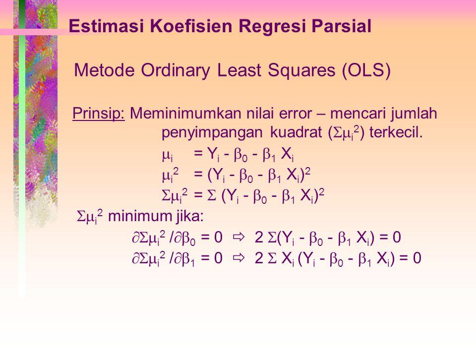 Estimasi Koefisien Regresi Parsial Metode Ordinary Least Squares (OLS) Prinsip: Meminimumkan nilai error – mencari jumlah penyimpangan kuadrat (  i