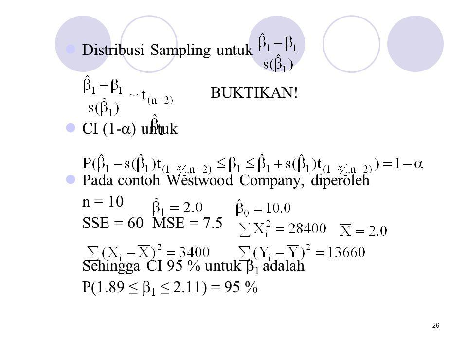 26 Distribusi Sampling untuk BUKTIKAN! CI (1-  ) untuk Pada contoh Westwood Company, diperoleh n = 10 SSE = 60MSE = 7.5 Sehingga CI 95 % untuk  1 ad