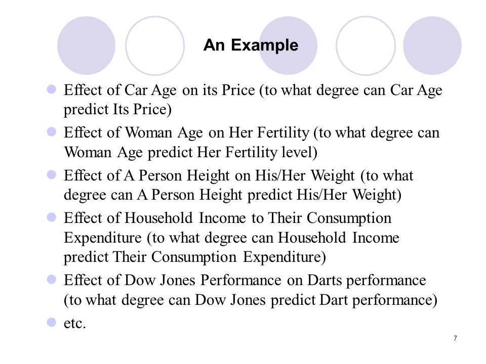 7 An Example Effect of Car Age on its Price (to what degree can Car Age predict Its Price) Effect of Woman Age on Her Fertility (to what degree can Wo