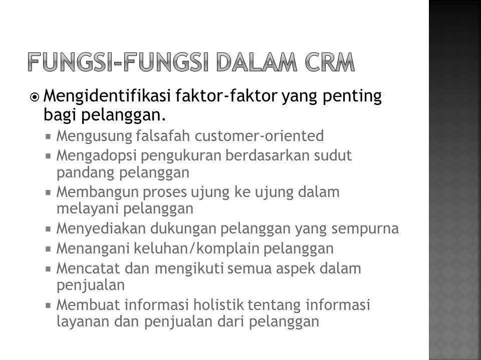  Mengidentifikasi faktor-faktor yang penting bagi pelanggan.  Mengusung falsafah customer-oriented  Mengadopsi pengukuran berdasarkan sudut pandang