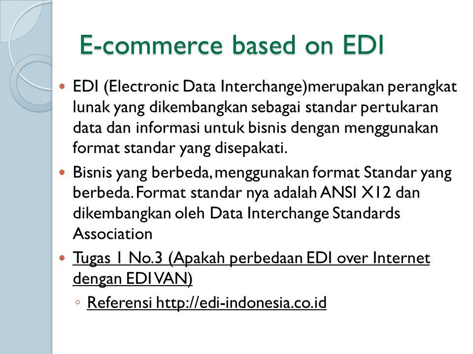 E-commerce based on EDI EDI (Electronic Data Interchange)merupakan perangkat lunak yang dikembangkan sebagai standar pertukaran data dan informasi unt