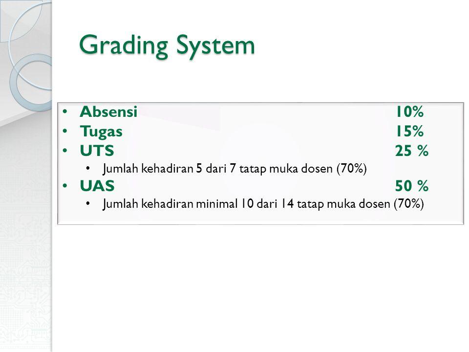 Grading System Absensi 10% Tugas 15% UTS 25 % Jumlah kehadiran 5 dari 7 tatap muka dosen (70%) UAS 50 % Jumlah kehadiran minimal 10 dari 14 tatap muka
