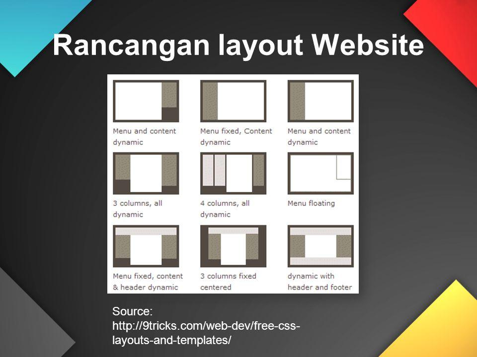 Rancangan layout Website Source: http://9tricks.com/web-dev/free-css- layouts-and-templates/