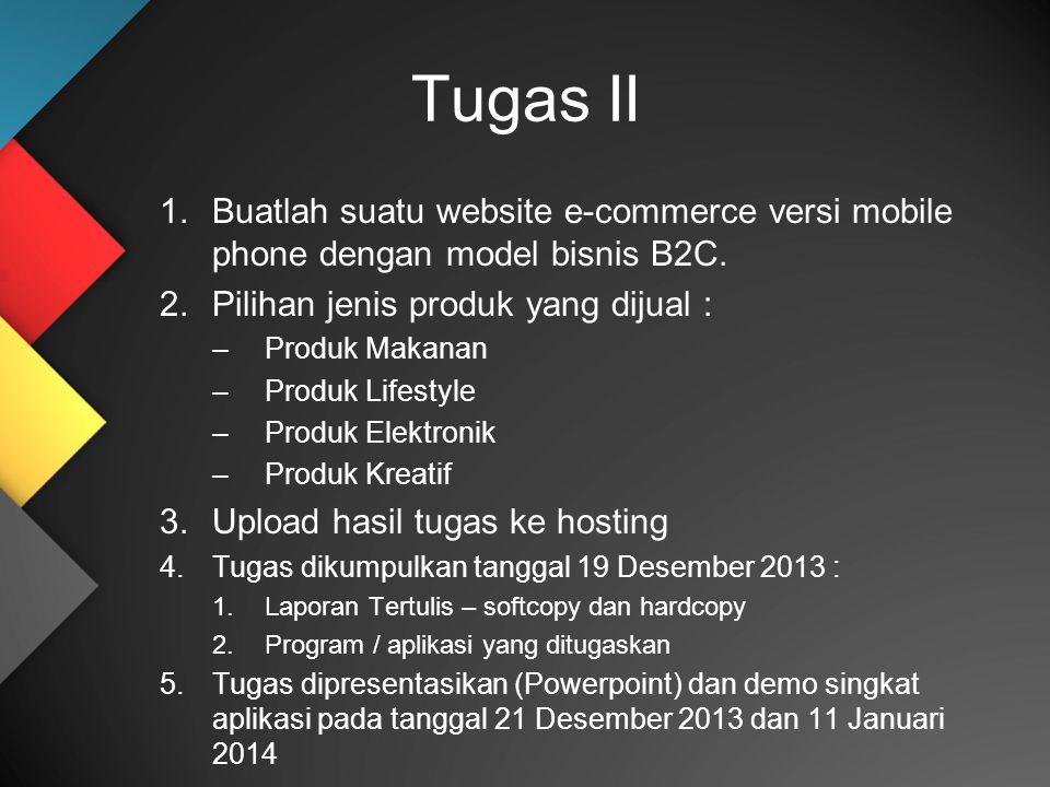 Tugas II 1.Buatlah suatu website e-commerce versi mobile phone dengan model bisnis B2C. 2.Pilihan jenis produk yang dijual : –Produk Makanan –Produk L