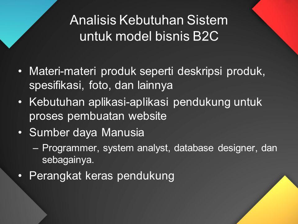 Analisis Kebutuhan Sistem untuk model bisnis B2C Materi-materi produk seperti deskripsi produk, spesifikasi, foto, dan lainnya Kebutuhan aplikasi-apli