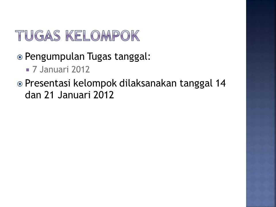  Pengumpulan Tugas tanggal:  7 Januari 2012  Presentasi kelompok dilaksanakan tanggal 14 dan 21 Januari 2012