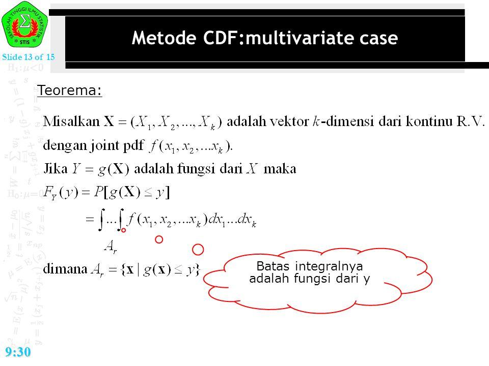 Slide 13 of 15 9:30 Metode CDF:multivariate case Teorema: Batas integralnya adalah fungsi dari y