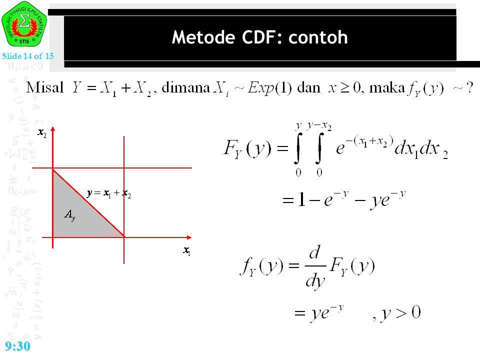 Slide 14 of 15 9:30 Metode CDF: contoh