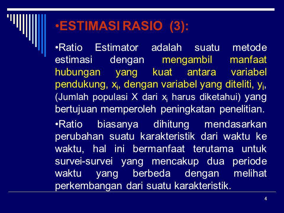 5 ESTIMASI RASIO (4)  Dengan menggunakan Estimasi Rasio, misalnya kita dapat memperoleh informasi mengenai perkembangan banyaknya Ruta/penduduk, lahan pertanian, besarnya pembayaran upah dan gaji, dan rata-rata penghasilan Ruta.
