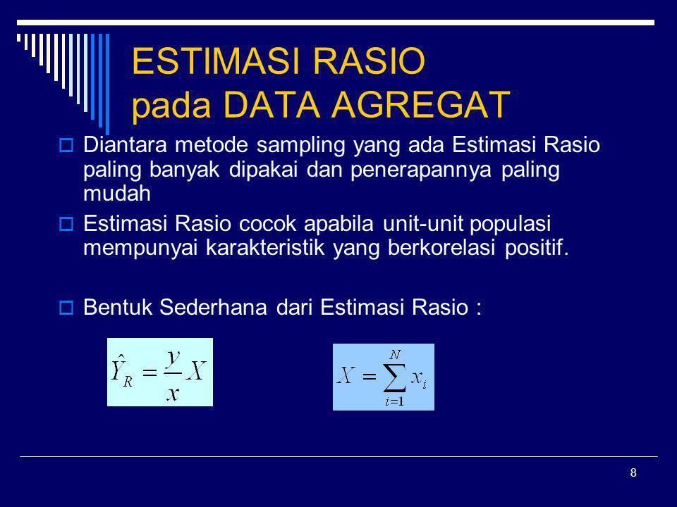 9 TIGA KONDISI ESTIMASI RASIO  Rasio terhadap dua buah karakteristik yang sama pada periode sebelumnya  Rasio dua buah karakteristik yang berhubungan pada periode yang sama  Rasio dari suatu sub set total