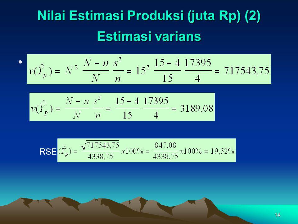 14 Nilai Estimasi Produksi (juta Rp) (2) Estimasi varians RSE