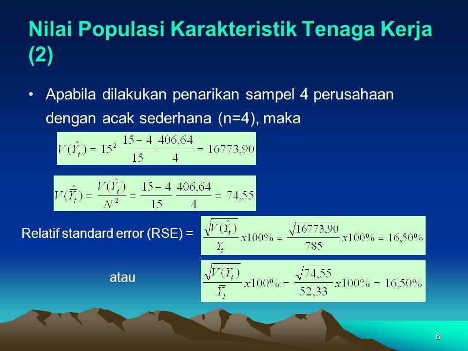6 Nilai Populasi Karakteristik Tenaga Kerja (2) Apabila dilakukan penarikan sampel 4 perusahaan dengan acak sederhana (n=4), maka Relatif standard err