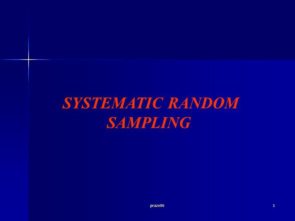 praze0612 Peluang unit dalam populasi terpilih menjadi sampel: Metode N = nk N ≠ nk Linier Systematic 1/k1/k Circular Systematic 1/kn/N