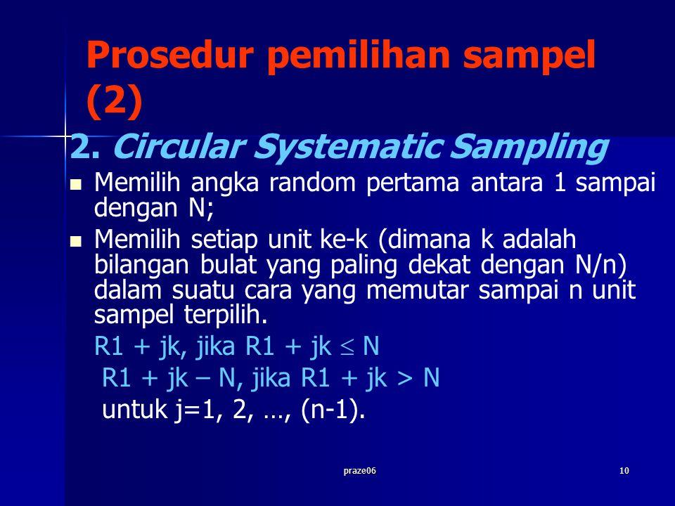 praze0610 Prosedur pemilihan sampel (2) 2. Circular Systematic Sampling Memilih angka random pertama antara 1 sampai dengan N; Memilih setiap unit ke-