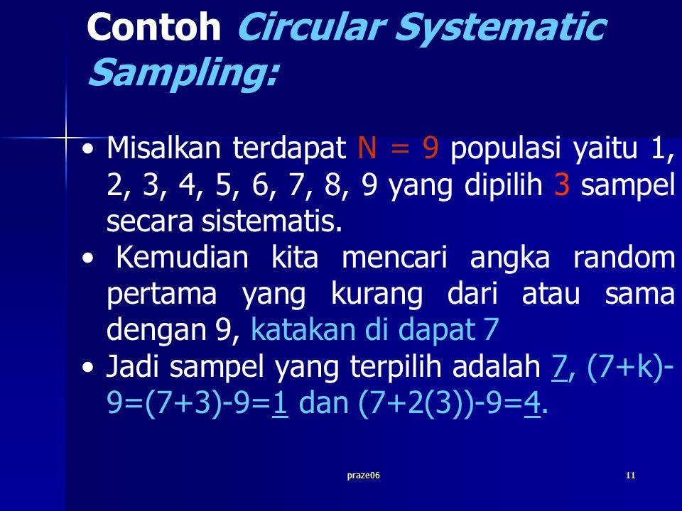 praze0611 Contoh Circular Systematic Sampling: Misalkan terdapat N = 9 populasi yaitu 1, 2, 3, 4, 5, 6, 7, 8, 9 yang dipilih 3 sampel secara sistematis.