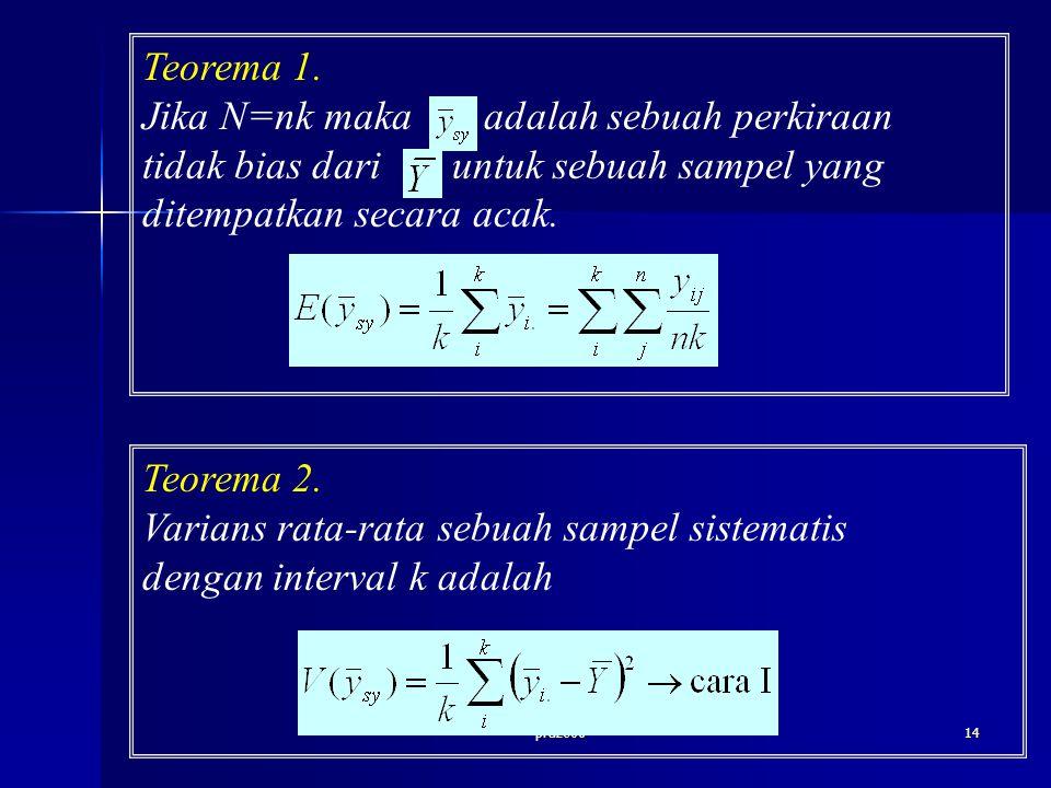 praze0614 Teorema 1. Jika N=nk maka adalah sebuah perkiraan tidak bias dari untuk sebuah sampel yang ditempatkan secara acak. Teorema 2. Varians rata-
