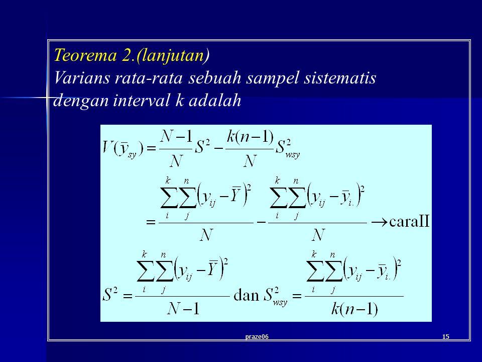 praze0615 Teorema 2.(lanjutan) Varians rata-rata sebuah sampel sistematis dengan interval k adalah
