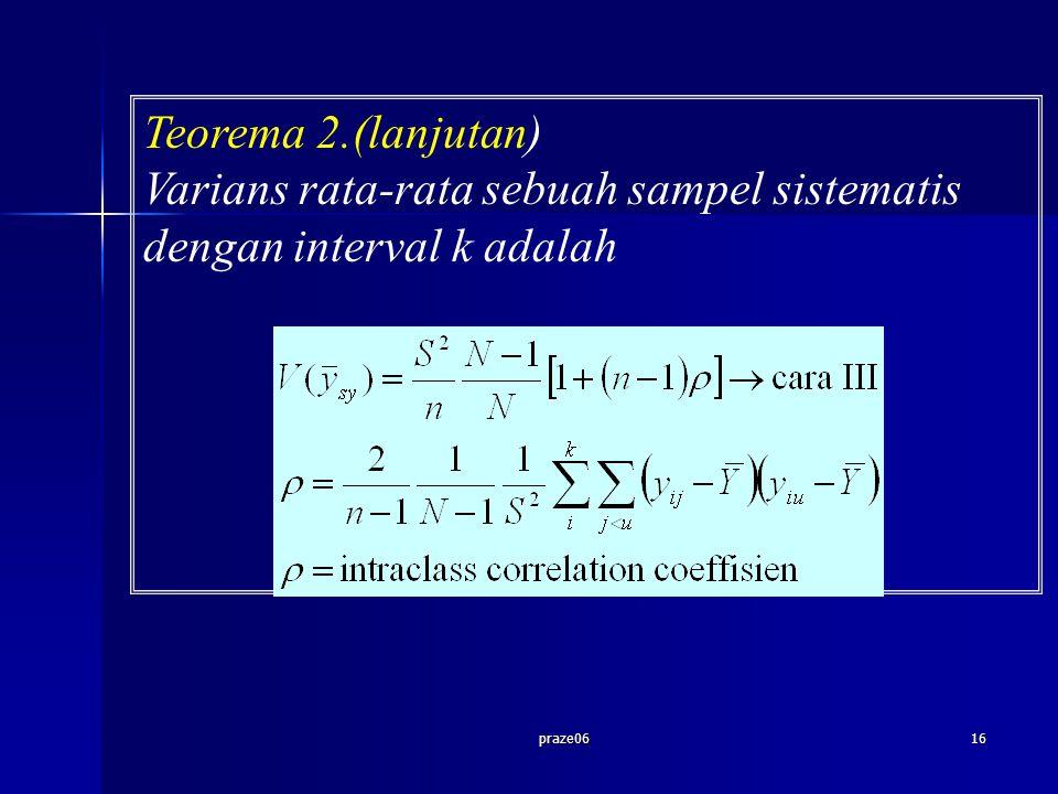 praze0616 Teorema 2.(lanjutan) Varians rata-rata sebuah sampel sistematis dengan interval k adalah