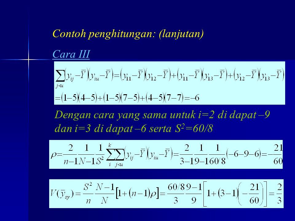 praze0620 Contoh penghitungan: (lanjutan) Cara III Dengan cara yang sama untuk i=2 di dapat –9 dan i=3 di dapat –6 serta S 2 =60/8