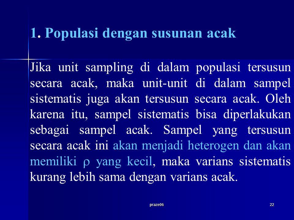 praze0622 1. Populasi dengan susunan acak Jika unit sampling di dalam populasi tersusun secara acak, maka unit-unit di dalam sampel sistematis juga ak