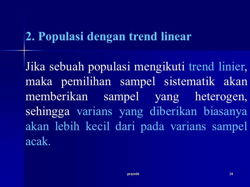 praze0624 2. Populasi dengan trend linear Jika sebuah populasi mengikuti trend linier, maka pemilihan sampel sistematik akan memberikan sampel yang he