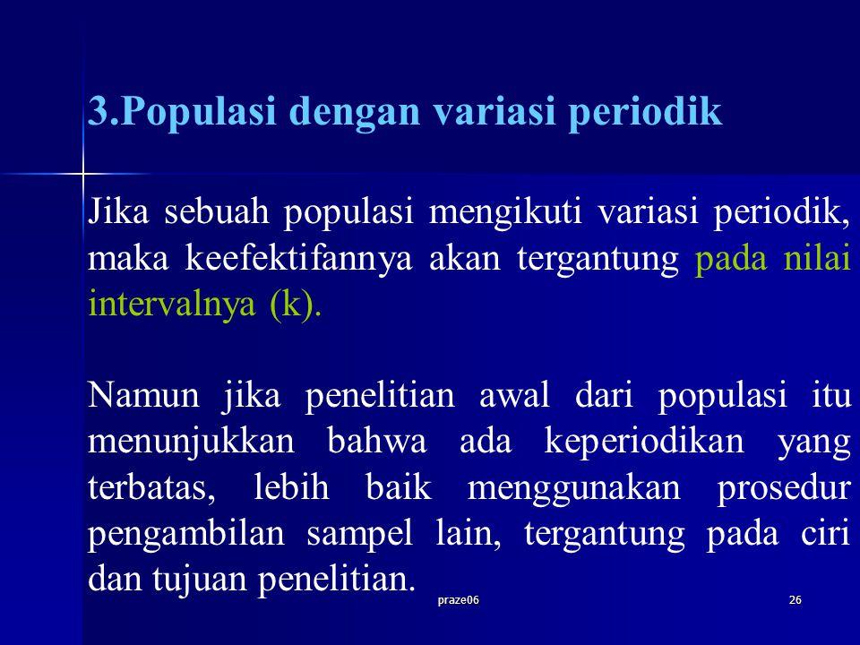 praze0626 3.Populasi dengan variasi periodik Jika sebuah populasi mengikuti variasi periodik, maka keefektifannya akan tergantung pada nilai intervaln