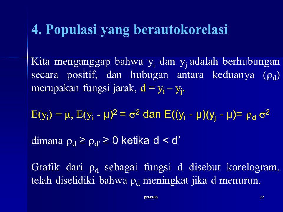 praze0627 4. Populasi yang berautokorelasi Kita menganggap bahwa y i dan y j adalah berhubungan secara positif, dan hubugan antara keduanya (  d ) me