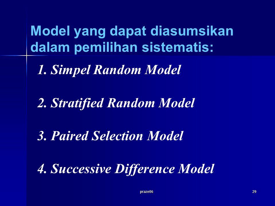praze0629 1.Simpel Random Model 2.Stratified Random Model 3.Paired Selection Model 4.Successive Difference Model Model yang dapat diasumsikan dalam pe