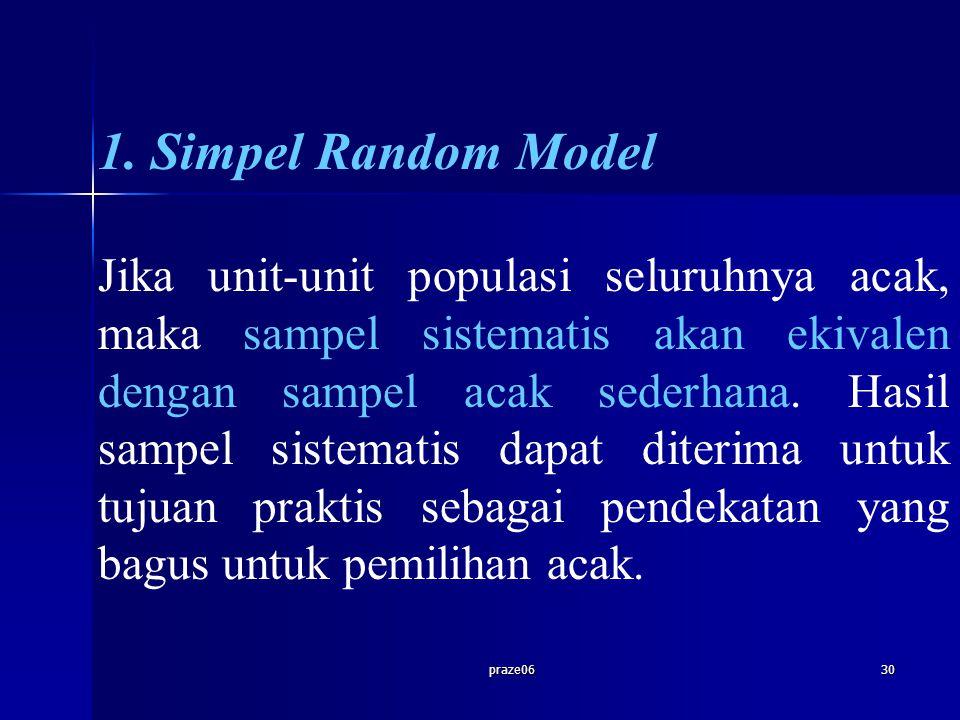 praze0630 1. Simpel Random Model Jika unit-unit populasi seluruhnya acak, maka sampel sistematis akan ekivalen dengan sampel acak sederhana. Hasil sam