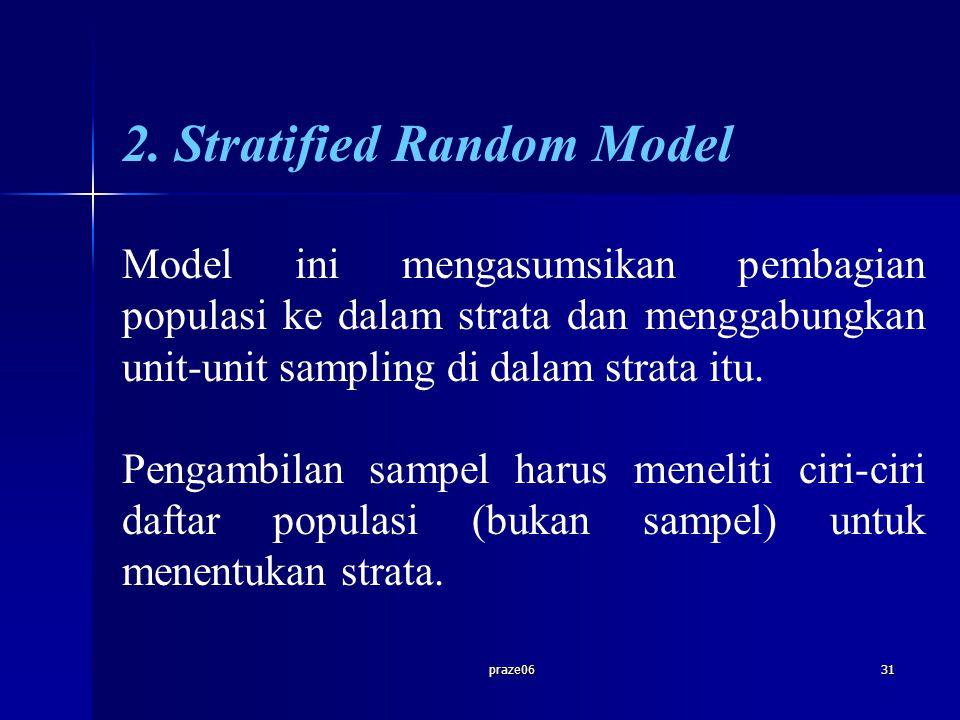 praze0631 2. Stratified Random Model Model ini mengasumsikan pembagian populasi ke dalam strata dan menggabungkan unit-unit sampling di dalam strata i