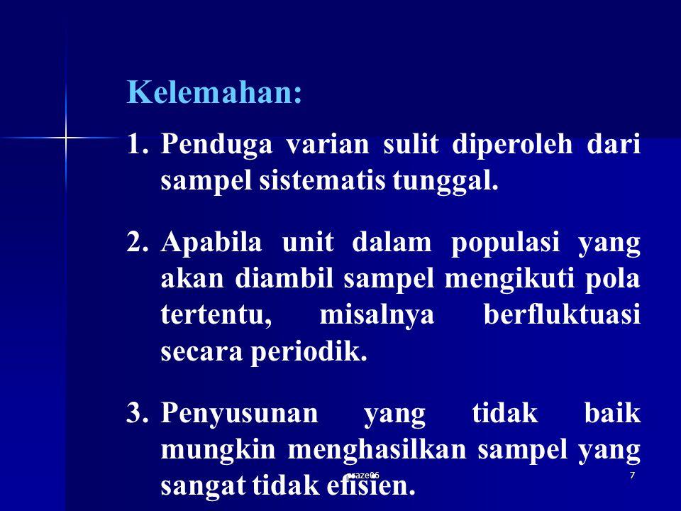 praze067 Kelemahan: 1.Penduga varian sulit diperoleh dari sampel sistematis tunggal. 2.Apabila unit dalam populasi yang akan diambil sampel mengikuti
