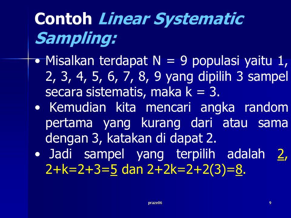 praze069 Contoh Linear Systematic Sampling: Misalkan terdapat N = 9 populasi yaitu 1, 2, 3, 4, 5, 6, 7, 8, 9 yang dipilih 3 sampel secara sistematis,