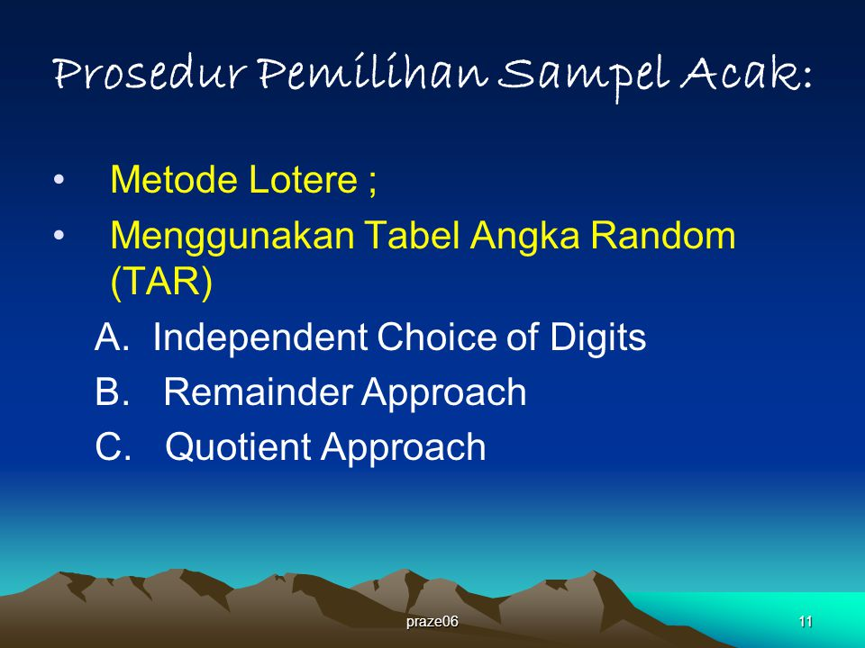 praze0611 Prosedur Pemilihan Sampel Acak: Metode Lotere ; Menggunakan Tabel Angka Random (TAR) A.