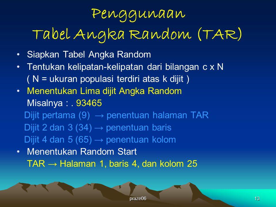 praze0613 Penggunaan Tabel Angka Random (TAR) Siapkan Tabel Angka Random Tentukan kelipatan-kelipatan dari bilangan c x N ( N = ukuran populasi terdiri atas k dijit ) Menentukan Lima dijit Angka Random Misalnya :.