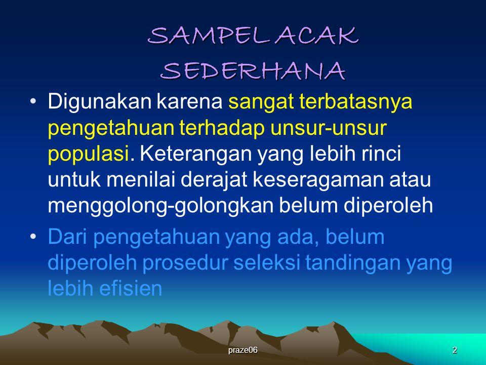 praze062 SAMPEL ACAK SEDERHANA Digunakan karena sangat terbatasnya pengetahuan terhadap unsur-unsur populasi.