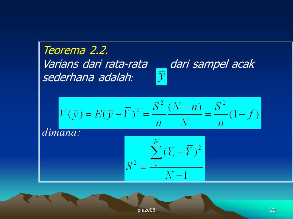 praze0622 Teorema 2.2. Varians dari rata-rata dari sampel acak sederhana adalah : dimana: