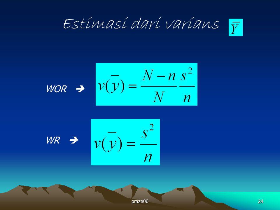 praze0624 Estimasi dari varians WOR  WR 