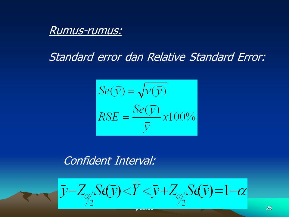 praze0625 Rumus-rumus: Standard error dan Relative Standard Error: Confident Interval: