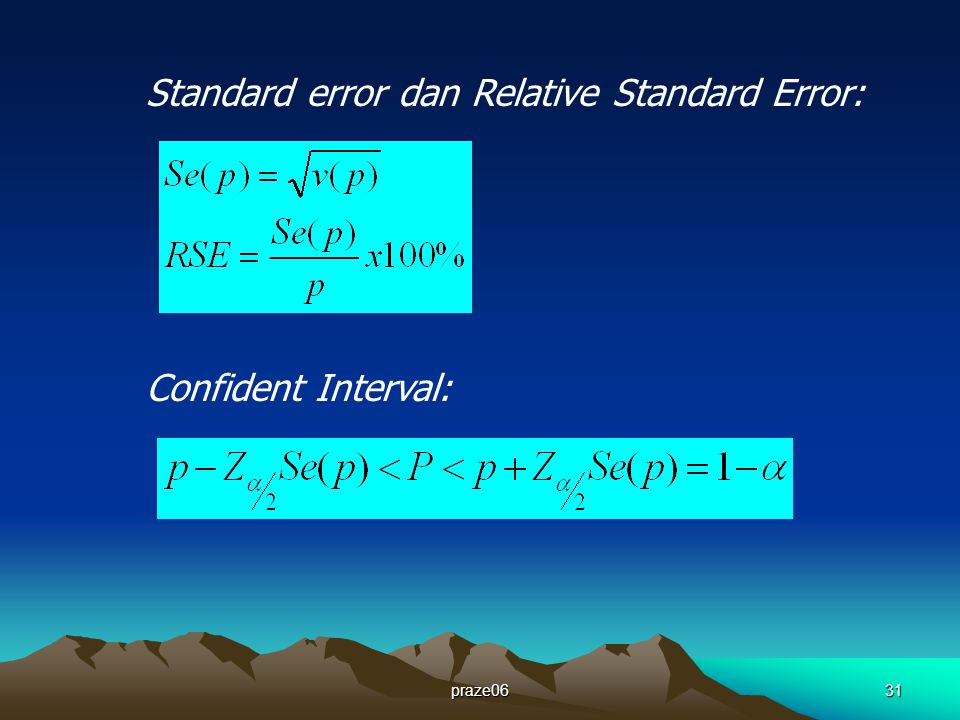 praze0631 Standard error dan Relative Standard Error: Confident Interval: