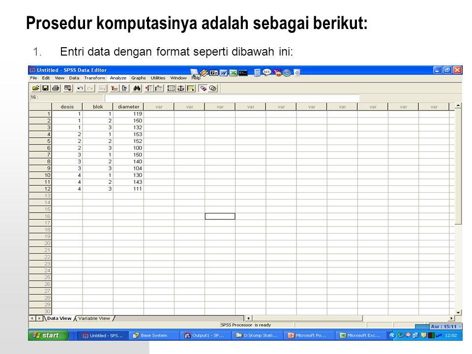 Prosedur komputasinya adalah sebagai berikut: 1.Entri data dengan format seperti dibawah ini: