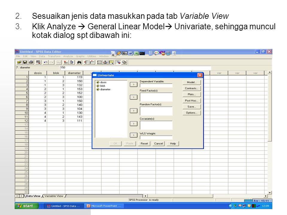 2.Sesuaikan jenis data masukkan pada tab Variable View 3.Klik Analyze  General Linear Model  Univariate, sehingga muncul kotak dialog spt dibawah in