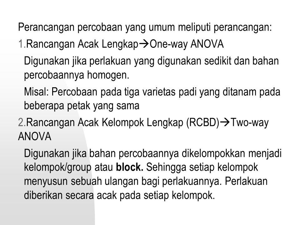 Perancangan percobaan yang umum meliputi perancangan: 1.Rancangan Acak Lengkap  One-way ANOVA Digunakan jika perlakuan yang digunakan sedikit dan bah
