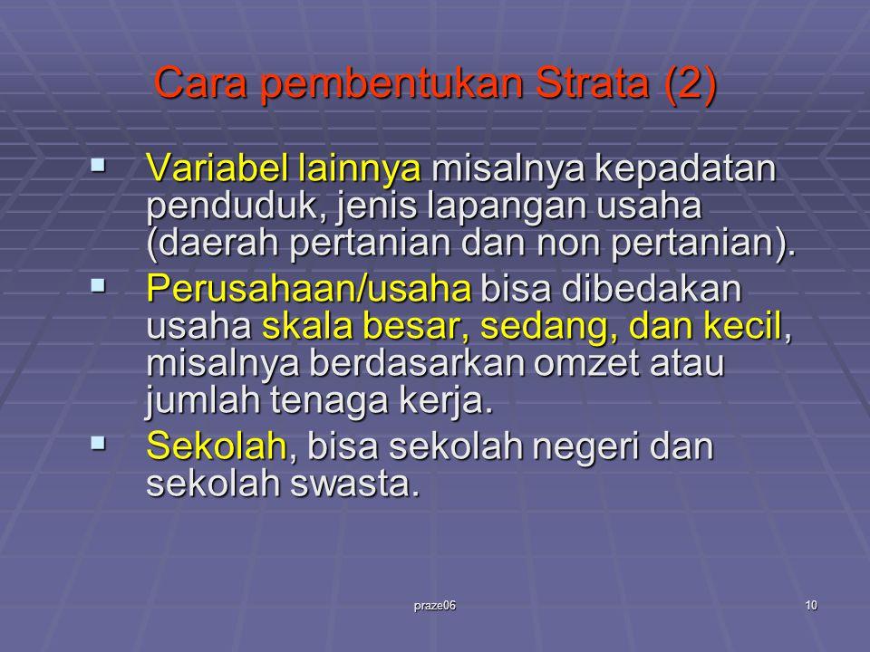 praze0610 Cara pembentukan Strata (2)  Variabel lainnya misalnya kepadatan penduduk, jenis lapangan usaha (daerah pertanian dan non pertanian).  Per