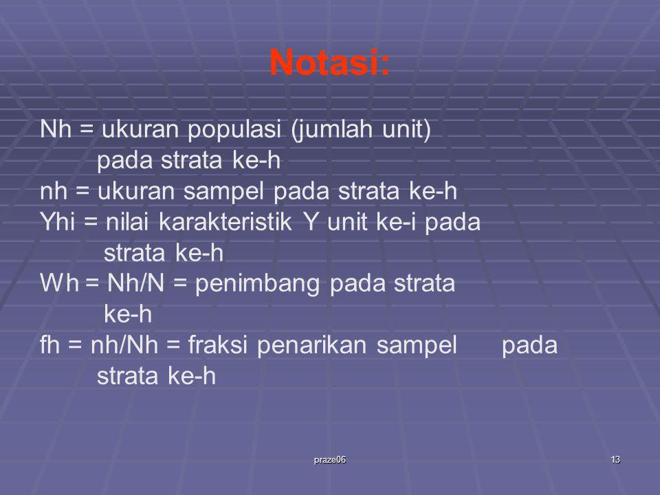 praze0613 Notasi: Nh = ukuran populasi (jumlah unit) pada strata ke-h nh = ukuran sampel pada strata ke-h Yhi = nilai karakteristik Y unit ke-i pada strata ke-h Wh = Nh/N = penimbang pada strata ke-h fh = nh/Nh = fraksi penarikan sampel pada strata ke-h
