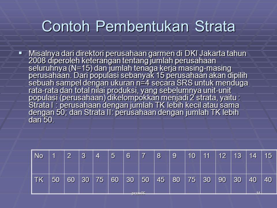 praze0614 Contoh Pembentukan Strata  Misalnya dari direktori perusahaan garmen di DKI Jakarta tahun 2008 diperoleh keterangan tentang jumlah perusahaan seluruhnya (N=15) dan jumlah tenaga kerja masing-masing perusahaan.