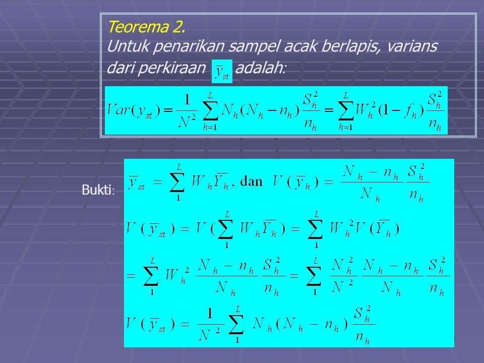 praze0616 Teorema 2. Untuk penarikan sampel acak berlapis, varians dari perkiraan adalah : Bukti :